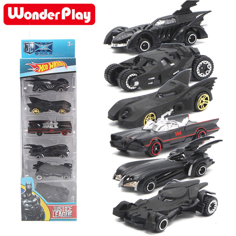 Bat Chariot Set Alloy <font><b>Car</b></font> <font><b>Models</b></font> 1:64 Toy American Movie 6th Generation Bat Chariot Metal <font><b>Cars</b></font> 6pcs/set Suit For Children Gifts image