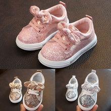Детская обувь с бантом и блестками для маленьких девочек 1-3 лет; модная повседневная обувь; модельные туфли; Весенняя модная повседневная обувь из водонепроницаемого полиуретана без застежки