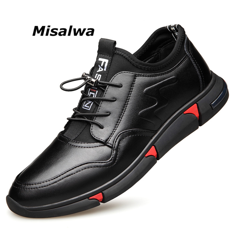 Misalwa Spring Fall Men Leather Casual Sneaker Flat 5CM Height Increasing Elevator Shoes PU Lycra Fashion