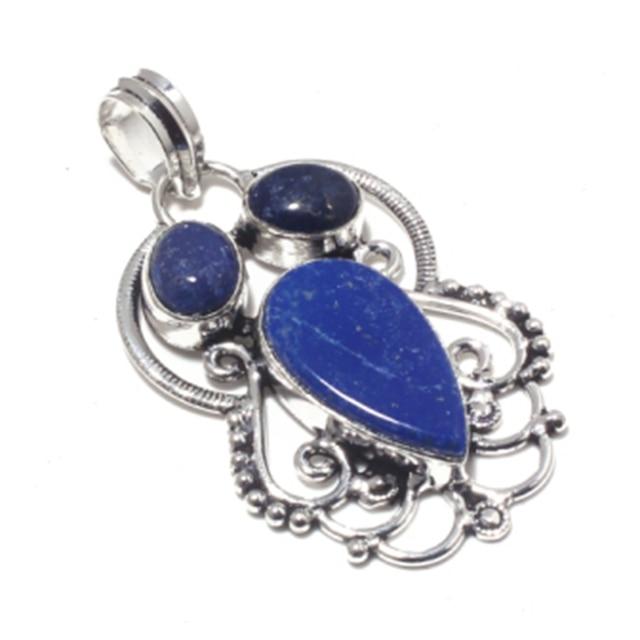 Genuine Lapis Lazuli   Pendant 925 Silver Overlay over Copper Hand made  Jewelry women gift