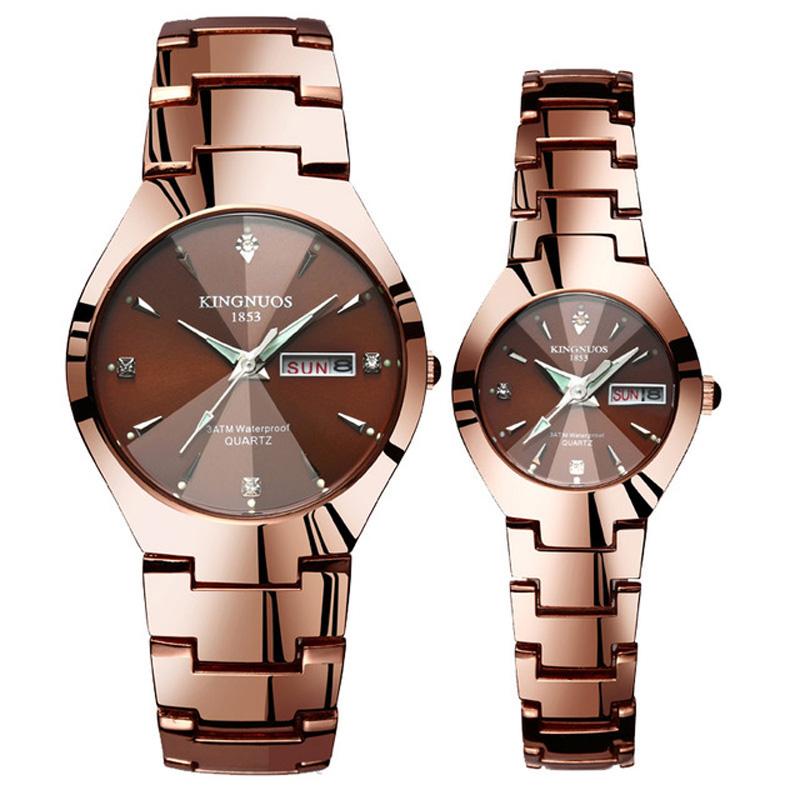 Часы для влюбленных Роскошные Кварцевые наручные часы для мужчин и женщин Hodinky Dual Calender Week steel Saat Reloj Mujer Hombre парные часы - Цвет: Couple Coffee Gold