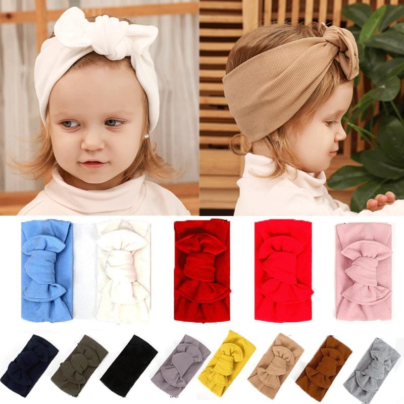Girls Baby Toddler Turban Solid Headband Hair Band Bow Headwear  Accessories