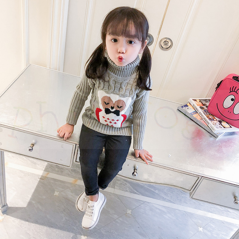 PHILOLOGY 2T-8T owl pattern winter boy girl kid thick Knitted bottoming turtleneck shirts high collar pullover sweater 3
