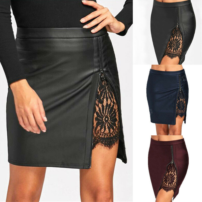 Ladies Stylish PU Leather Lace Pencil Mini Skirt High Waist Zipper Women Sexy Bodycon Mini Short Skirt Stretch