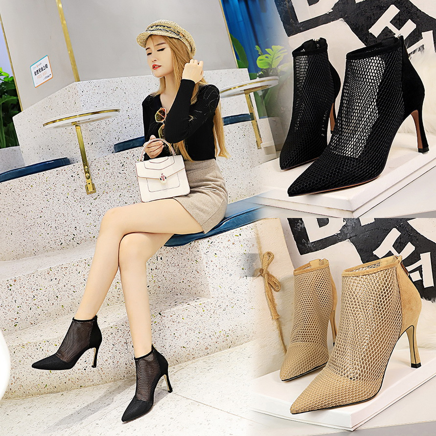 Bigtree 2019 new spring and autumn pointed high-heeled ankle boots ladies sandals mesh Roman high heel stiletto