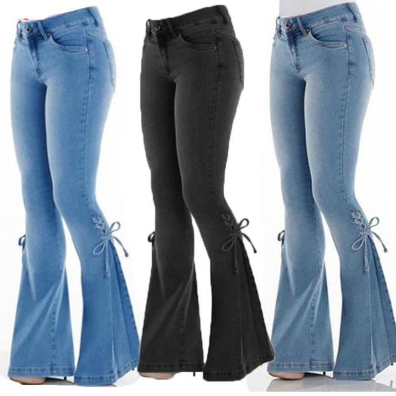 2020 Girls Women Jeans Flare Pants Bow Mujer Woman High Waist Cowboy Trousers Elastic Jeans Denim Plus Size 4xl Bodycon Femme