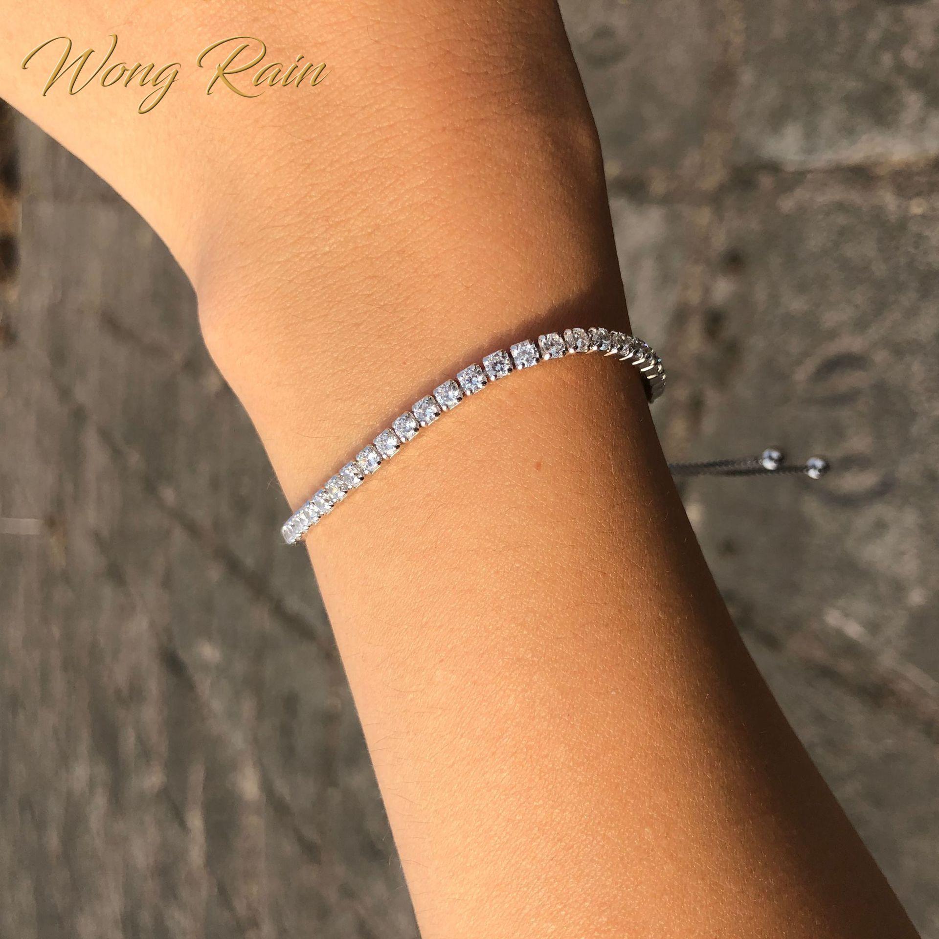 Wong Rain 100% 925 Sterling Silver Created Moissanite Gemstone Bangle Charm Wedding Engagement Bracelet Fine Jewelry Wholesale
