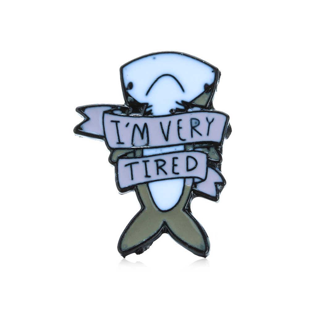 Membantu Saya! Aku Sangat Lelah Depresi Hiu Tema Abu-abu Lucu Hewan Ikan Keras Pin Enamel Ransel Denim Lencana untuk Anak-anak Hadiah pin