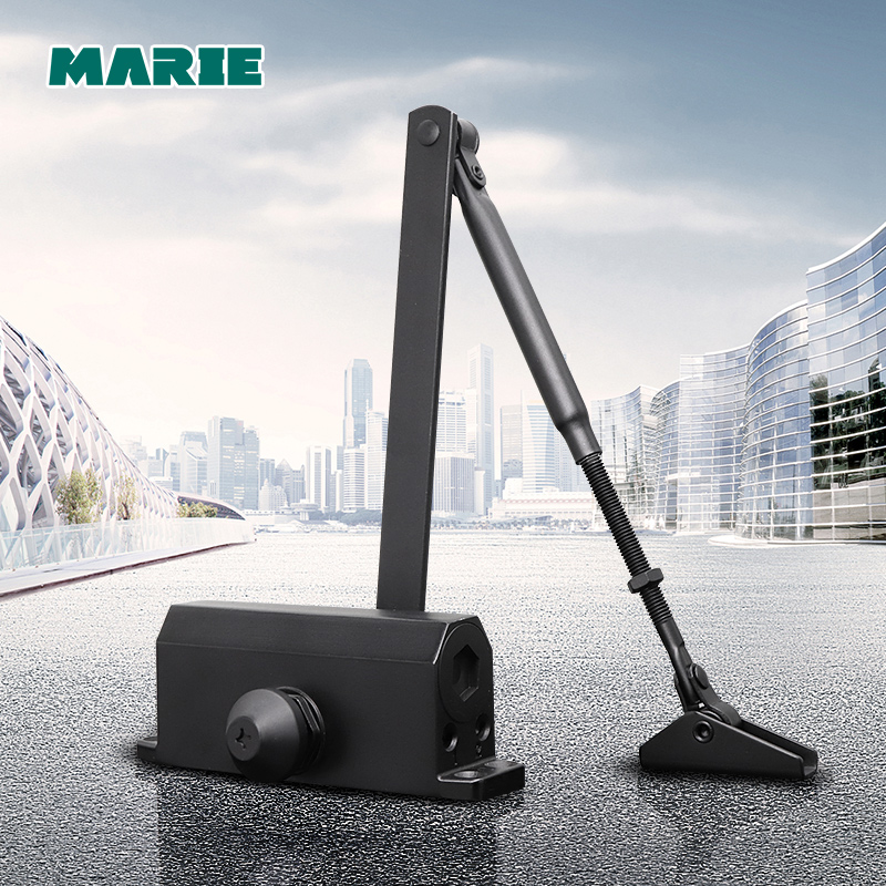 Black Color Easy To Install Hydraulic Buffer Door Closer,For 25kg-45kg Door, Positioning Protect Door Closer