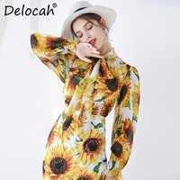 Delocah Runway moda jesień swetry rozpinane jedwabna koszula kobiet latarnia rękawem Bowknot słonecznika drukowane elegancki dorywczo bluzki bluzka