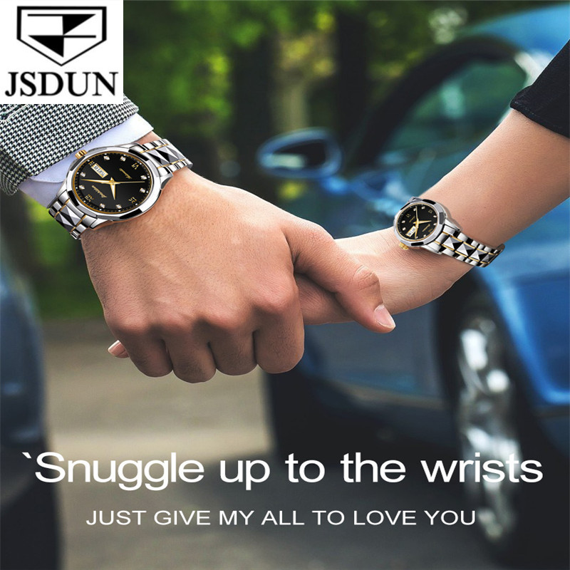 JSDUN Fashion Couple Watch Waterproof Automatic Mechanical Watch Imported Movement Tungsten Steel Watch For Men Women Lover Gift