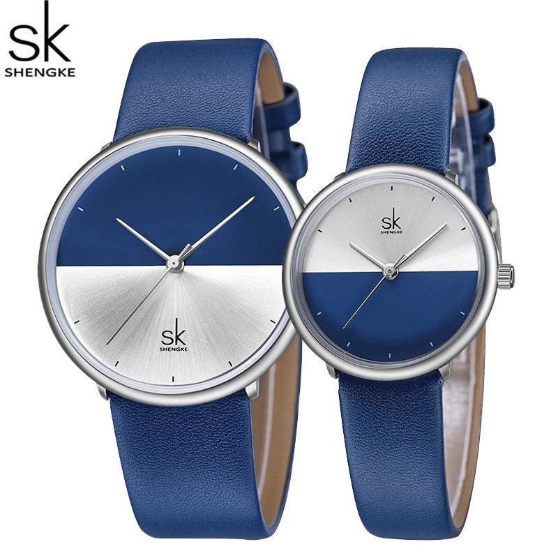 ShengKe Brand Luxury Couple Watches Men Women Fashion Quartz Wristwatch Waterproof Leather Strap Lovers Clock Relogio Masculino