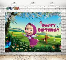 מאשה ודוב צילום תפאורות בנות ילדים מסיבת יום הולדת תמונה רקע כר דשא פרפר ויניל תמונה לתא Props