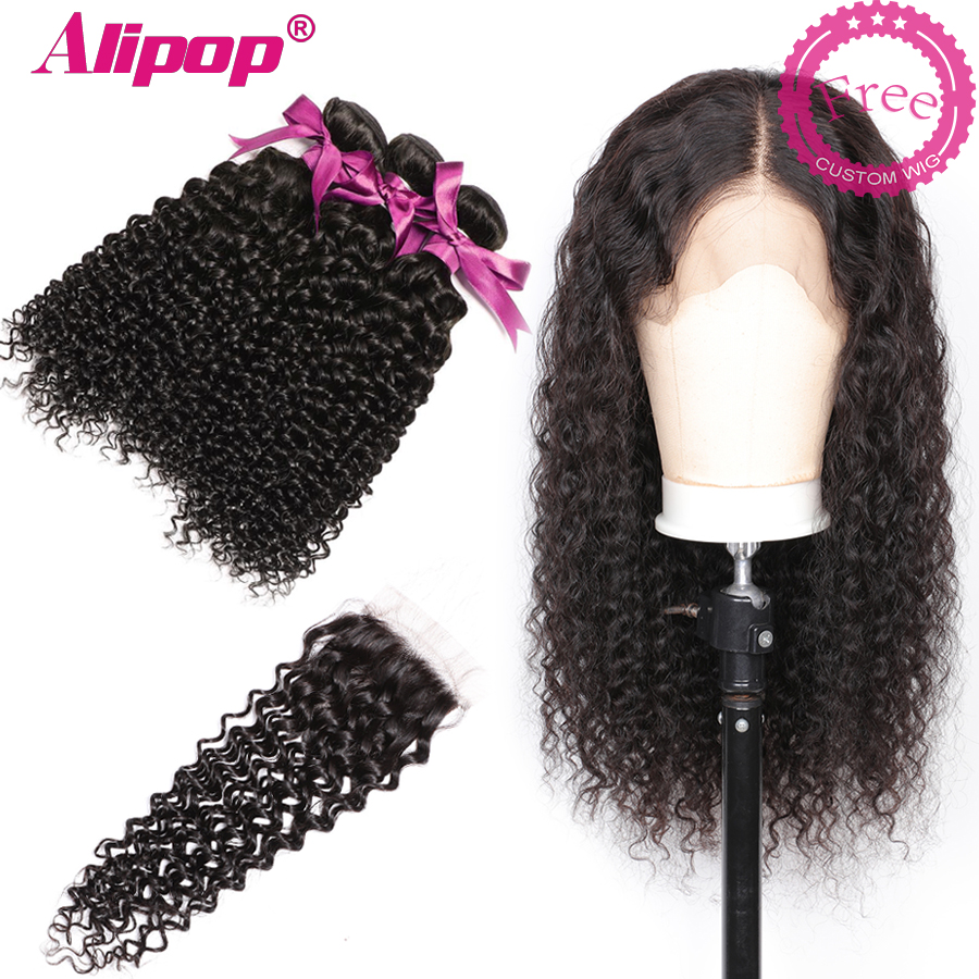 Malaysian Curly Hair With Closure 3 Bundles Remy Human Hair Bundles With Closure Can Customize Into A Curly wig For Free ALIPOP  (2)