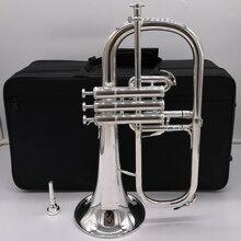 Music Fancier Club Professional Japan Flugelhorn 631GS Silver Plated With Case Profession Flugelhorns Bb Yellow Brass Bell