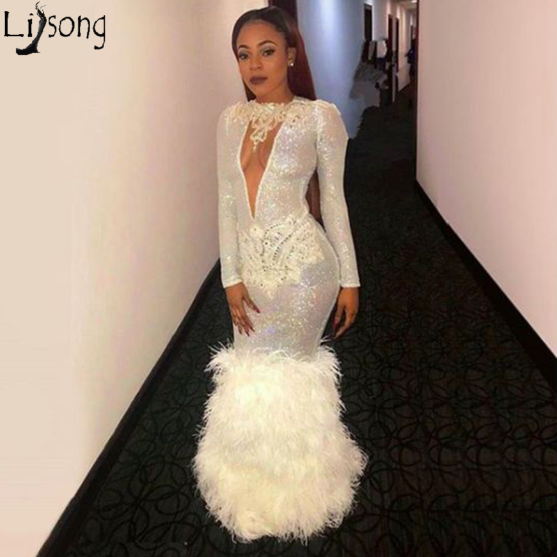 Flare Sequin Jewel Prom Dresses With Feather Train Deep V Neck Long Sleeve Formal Evening Dress Mermaid African Party Gowns