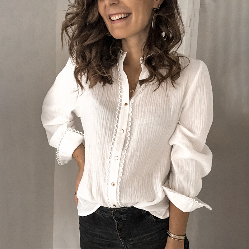 Chiffon Lace Patchwork Women Blouse Top White Stand Collar Single Breasted Office Lady Shirts 2020 Spring Elegant Female Blouses