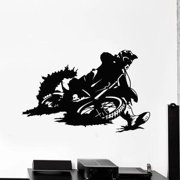 Etiqueta de la pared del deporte extremo Bicicleta Racer motocicleta velocidad garaje hombre cueva decoración del hogar vinilo ventana pegatinas Mural extraíble M031