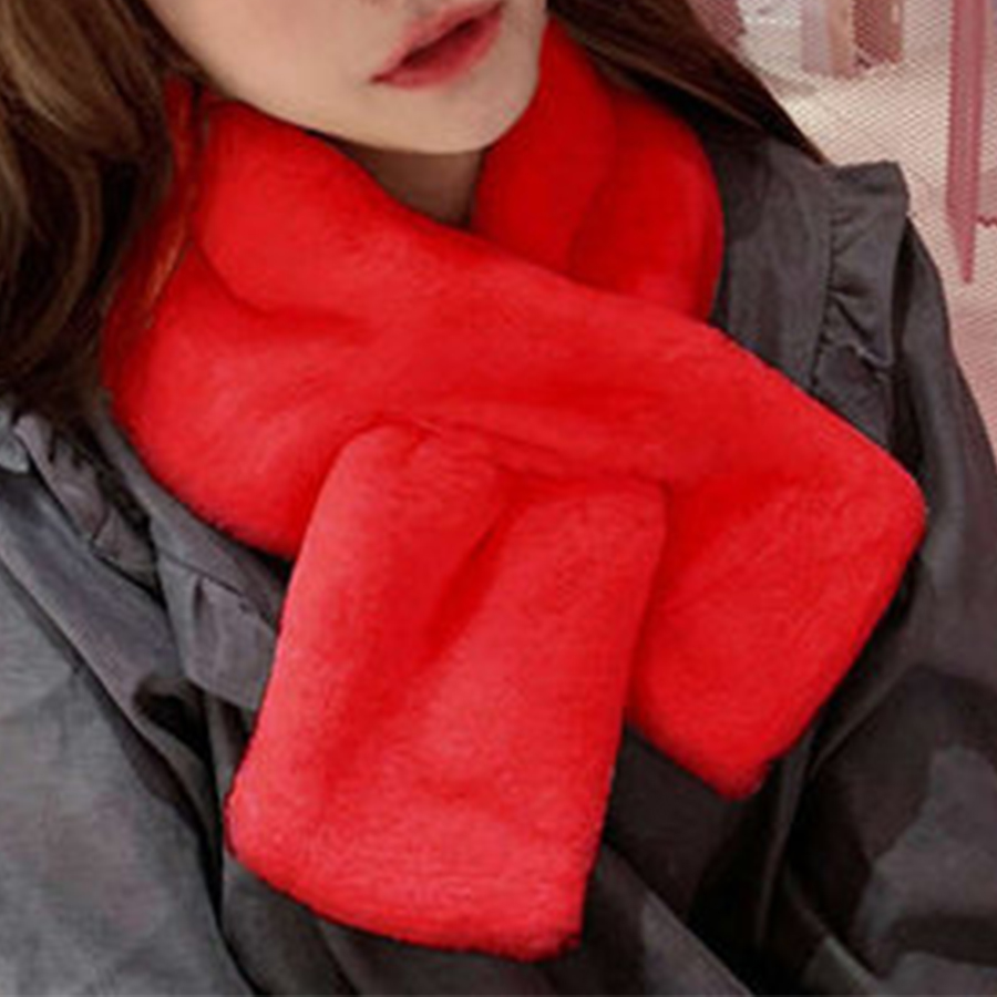 Candy Color Autumn Winter Faux Rabbit Fur Scarf Women Casual Thick Warm Comfortable Knit Shawl Neck Fashion Wild Plush Scarf Hot