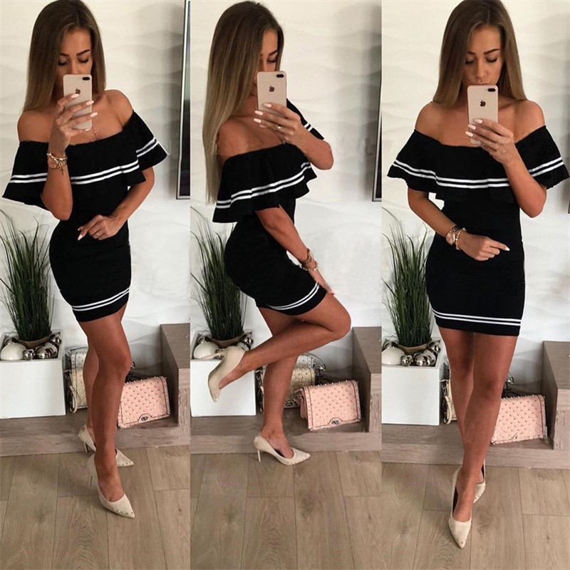H4185b02350654f57830547835122a4113 - Off Shoulder Slash Neck Sexy Autumn Party Dress Striped Ruffles Short Sleeve Summer Dress Women Plus Size Casual Beach Vestidos