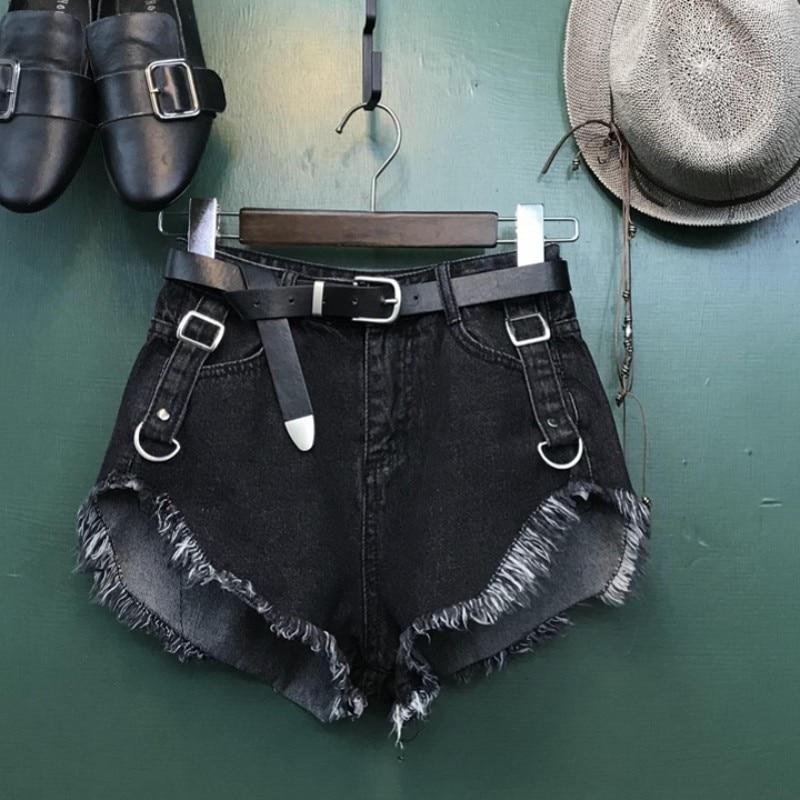 New Black Blue Tassel Washed Short Jeans Women Fashion Sexy High Waist Wide Leg Denim Shorts Ladies Korean Streetwear Hot Pants