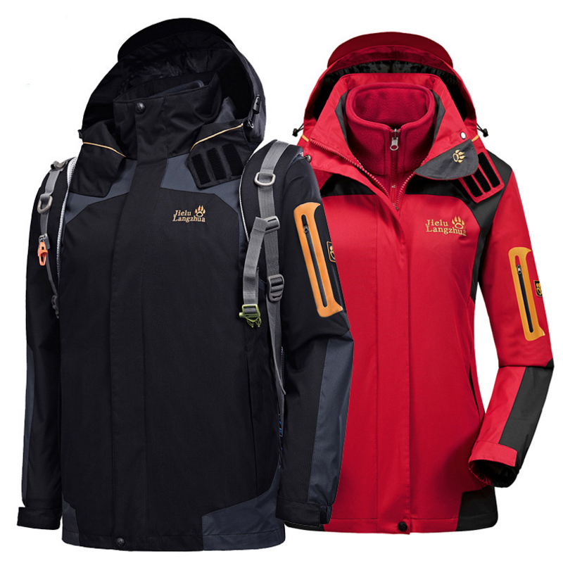 2019 Men Women  Winter 3in1 XS-4XL Outdoor Jacket Waterproof Camp Hike Trek Climb Ski Fish Fleece Hood Euro Oversized Male Coat