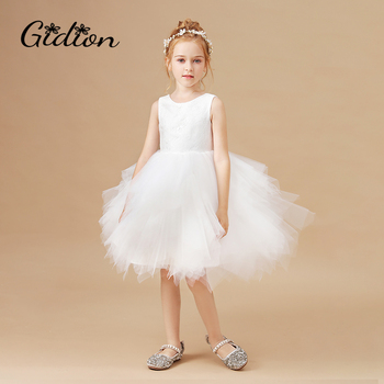 Flower Girls Costume Lace Princess Dress Kids Autumn Winter Clothing Children New Year Birthday Party Wedding Dress gorgeous children girls black grey birthday celebration evening party flower princess lace dress kids model catwalk host dress