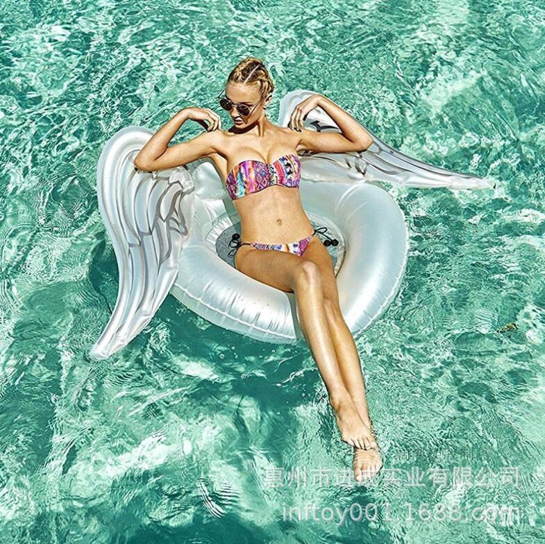 Factory A Large Amount Production Inflatable Angel Wings Floating Row PVC Angel Wings Swimming Tube Floating Deck Chair Floating