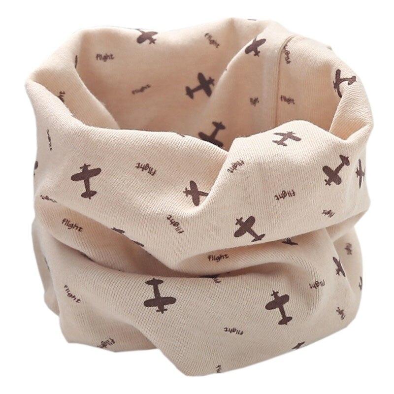 Новинка; Модный хлопковый шарф для маленьких девочек; осенне-зимний шарф для маленьких мальчиков; Детский шарф с круглым вырезом; Детские шарфы; волшебный шейный платок - Цвет: beige plane