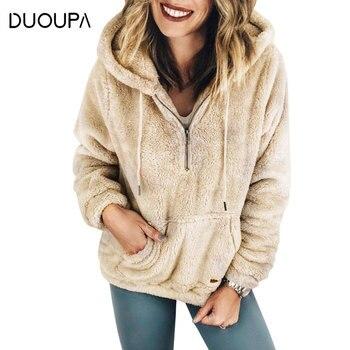 DUOUPA 2019 Autumn and Winter Warm Hooded Jacket Fashion Women's Soft Zipper Fur Coat Female Plush Coat Pocket Casual Teddy Coat cut and sew panel pocket decoration coat