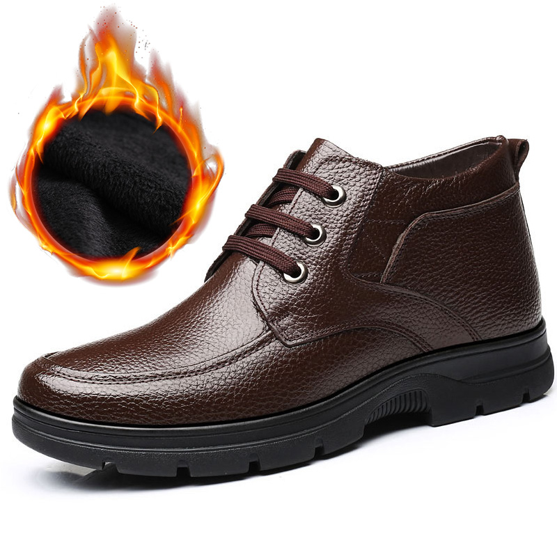 New 2019 Genuine Leather Shoes Men Winter Boots -30 Warm Cotton Shoes Cow Leather Man Ankle Boots Casual Male Footwear A1884