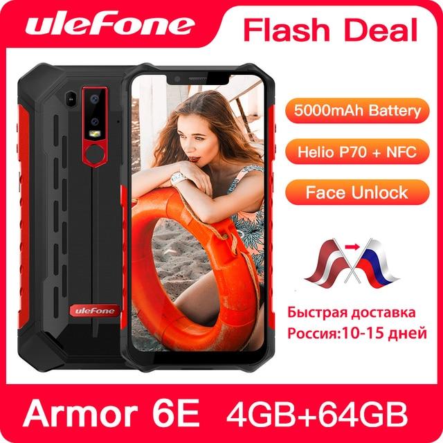 Ulefone Armor 6E IP68กันน้ำNFCโทรศัพท์มือถือHelio P70 OCTA Core Android 9.0 4GB + 64GBไร้สายสมาร์ทโฟน