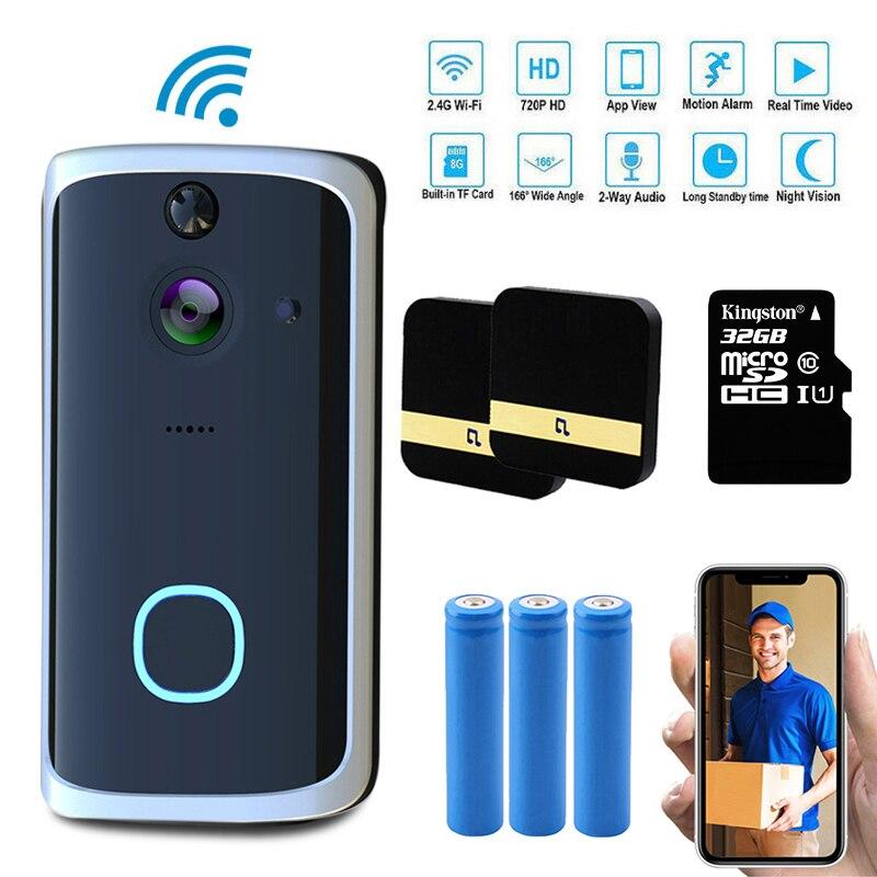 1080P Video Doorbell Camera Wi-Fi Doorbell Security Camera Two-Way Talk, Night Vision, Built-in SD Card Slot Motion Detector