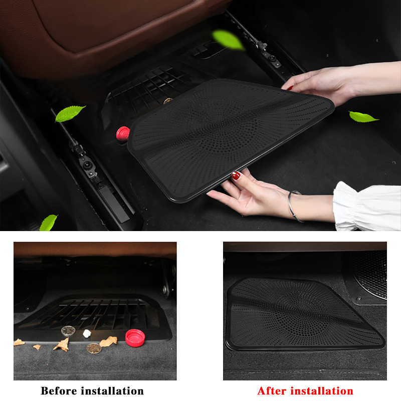 Black Seat Air Outlet Vent Stickers For G11 G12 AC Heater Trim Floor Under Seat Inlet Duct Grille For BMW 7 Series 2016-2019