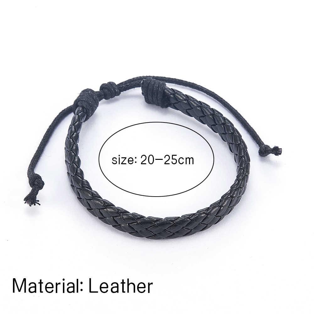 ファッション男性黒織り革シンプルな調節可能なブレスレットバングルカフロープブレスレットジュエリーのためのボーイフレンド