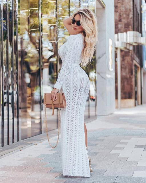 Hollowed-out knit beach dress sexy one-shouldered long-sleeved high-slit tight club party dress 3