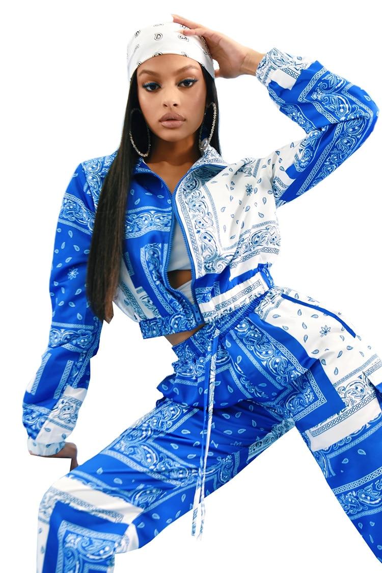 Paisley Bandana Print Two 2 Piece Set Women Fitness Sweatsuit Zipper Up Sweatshirt + Jogger Pants Set Tracksuit Vintage Outfits 9