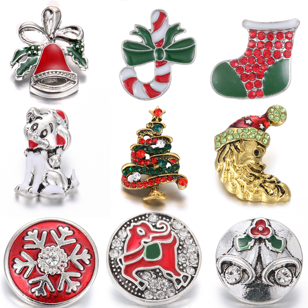 Fit-18mm Jewelry Snap-Bracelet Christmas-Snap-Buttons Snowflake Crystal Multi-Style Santa-Claus
