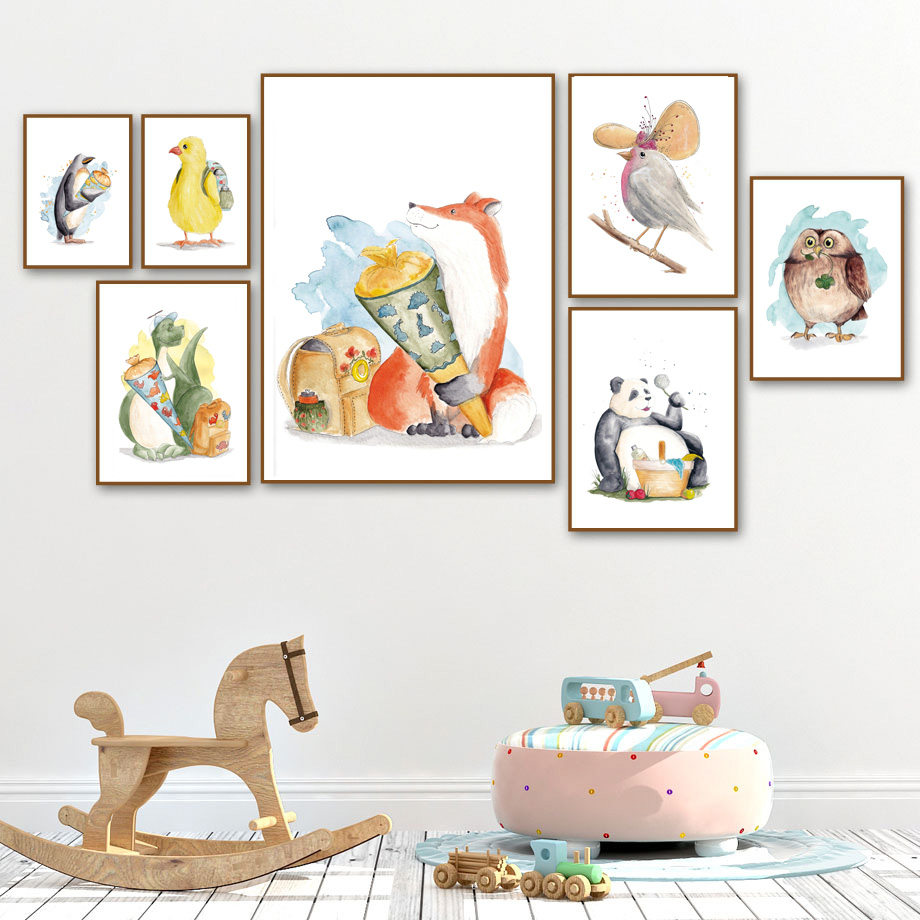 Watercolor Dinosaur Fox Bird Panda Nordic Posters And Prints Wall Art Print Canvas Painting Wall Pictures For Kids Room Decor in Painting Calligraphy from Home Garden