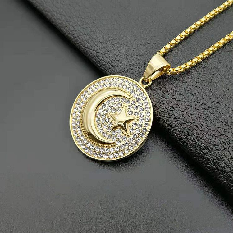 HIP Hop Arabic Muslim Allah Necklace Gold Star moon Stainless Steel Bling Iced Out Islamic Pendants & Necklaces for Men Jewelry
