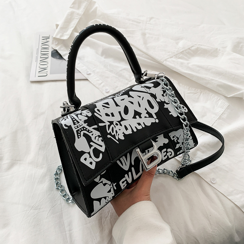 Women's Bag New 2020 Fashion Graffiti Painted Printed Hourglass Bag Famous Designer Shoulder Messenger Bags Women Handbags