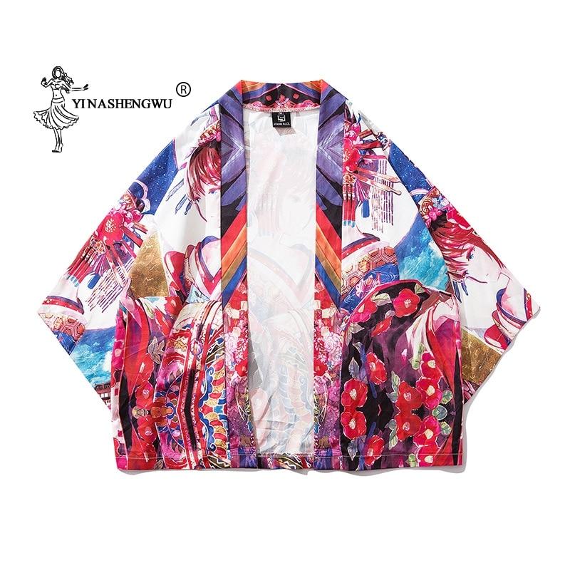 Cotton Kimono Yukata Women Japan Kimono Traditional Harajuku Carp Print Kimono Cardigan Femme Kimono Cosplay Costume Thin Shirt
