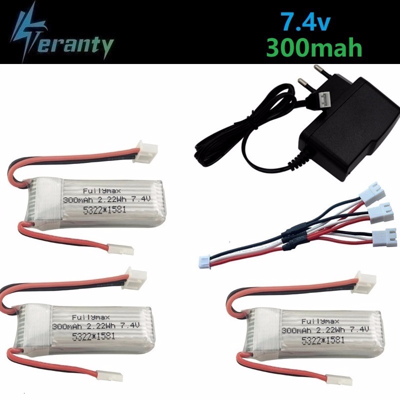 7.4V 300mAh Li-Po Battery For WLtoys F959 RC Drone Spare Parts For XK DHC-2 A600 A700 A800 A430 2.22Wh 7.4v Battery Charger Sets