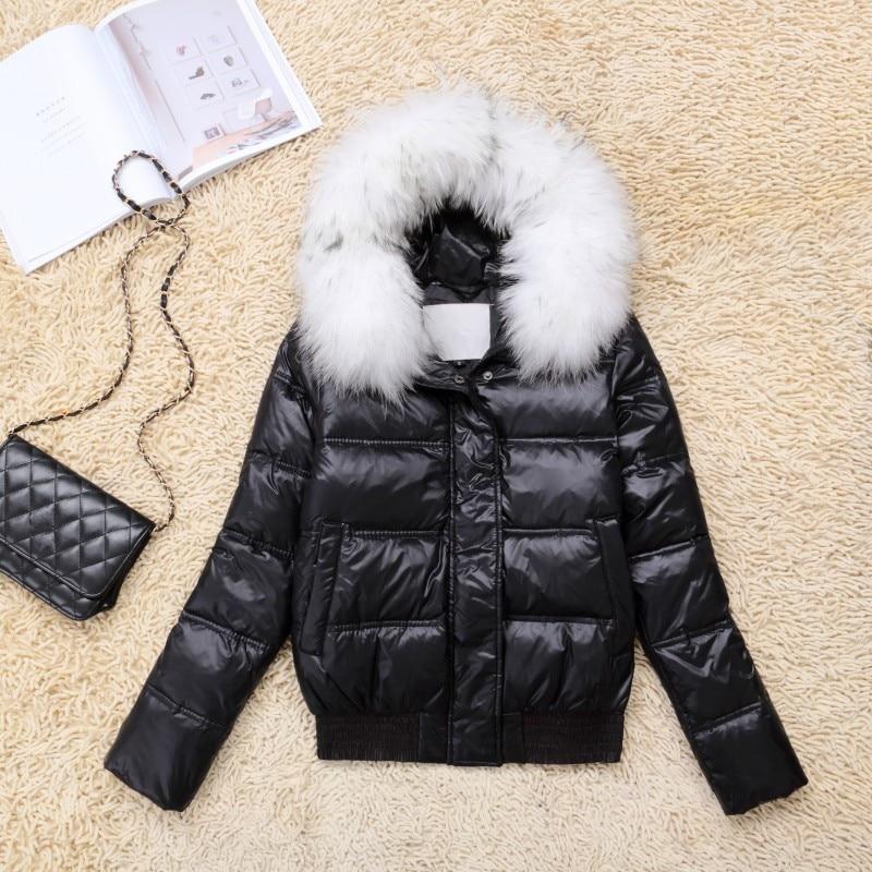 Coat Warm White Duck Down Jacket Women Hooded Raccoon Fur Collar Coats Lady Slim Jackets Jaqueta Feminina Inverno WXF133 S S