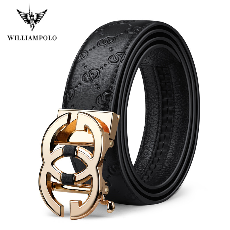 WILLIAMPOLO Leather Mens Belt Genuine Luxury Brand Designer Leather Strap Automatic Buckle Fashion Belt Gold Full-grain Leather