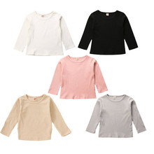 Boys Girls Children Pure Color T Shirts Autumn Newbron Knitted Long Sleeve Cotton Round Neck T-shirts Tees Tops Baby Boy Clothes