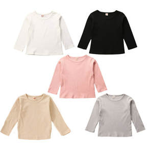 Tops Tees T-Shirts Knitted Long-Sleeve Newbron Girls Baby-Boy Cotton Autumn Round-Neck