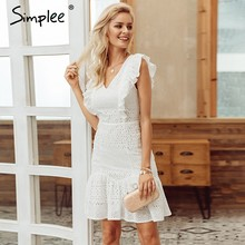Simplee Elegant cotton embroidery women summer dress Ruffled high waist korean white dress Vintage sexy v-neck party mini dress(China)