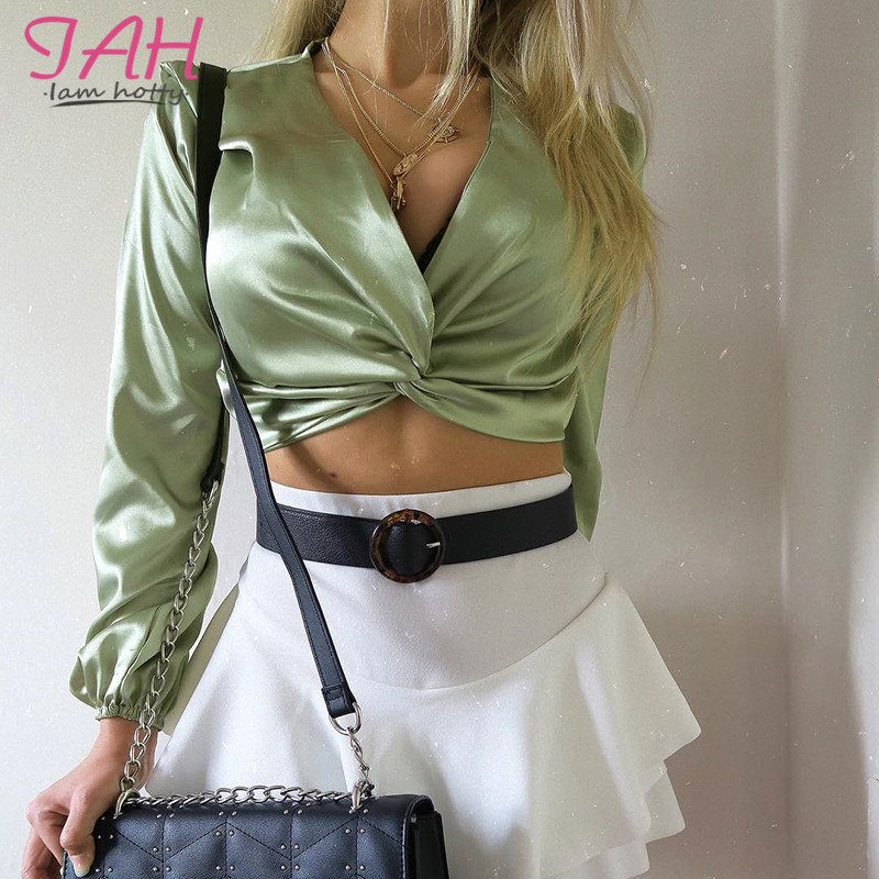 Camisetas Verano Mujer 2019 Long Sleeve V-Neck Woman Top Casual Fashion Sexy Solid Color Satin Shirt Iamhotty