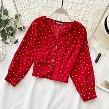Rugod doce dot print blusa feminina decote em v único breasted manga comprida tops primavera blusas casual magro camisa curta blusa femme